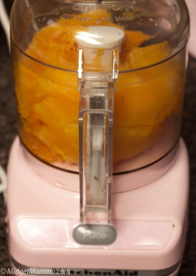 pureeing pumpkin in a food processor