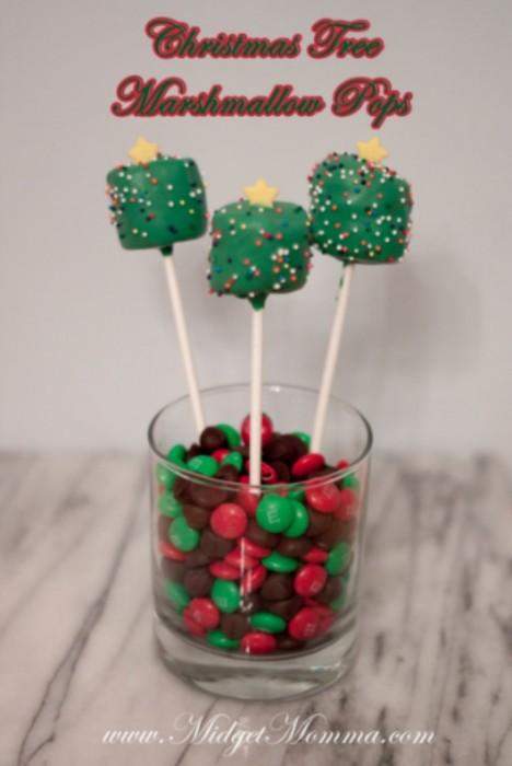 christmas tree marshmallow pops