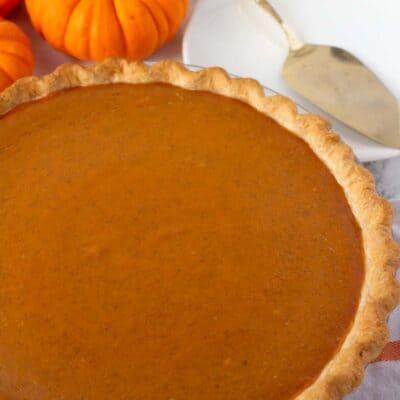 homemade pumpkin pie in a pie dish