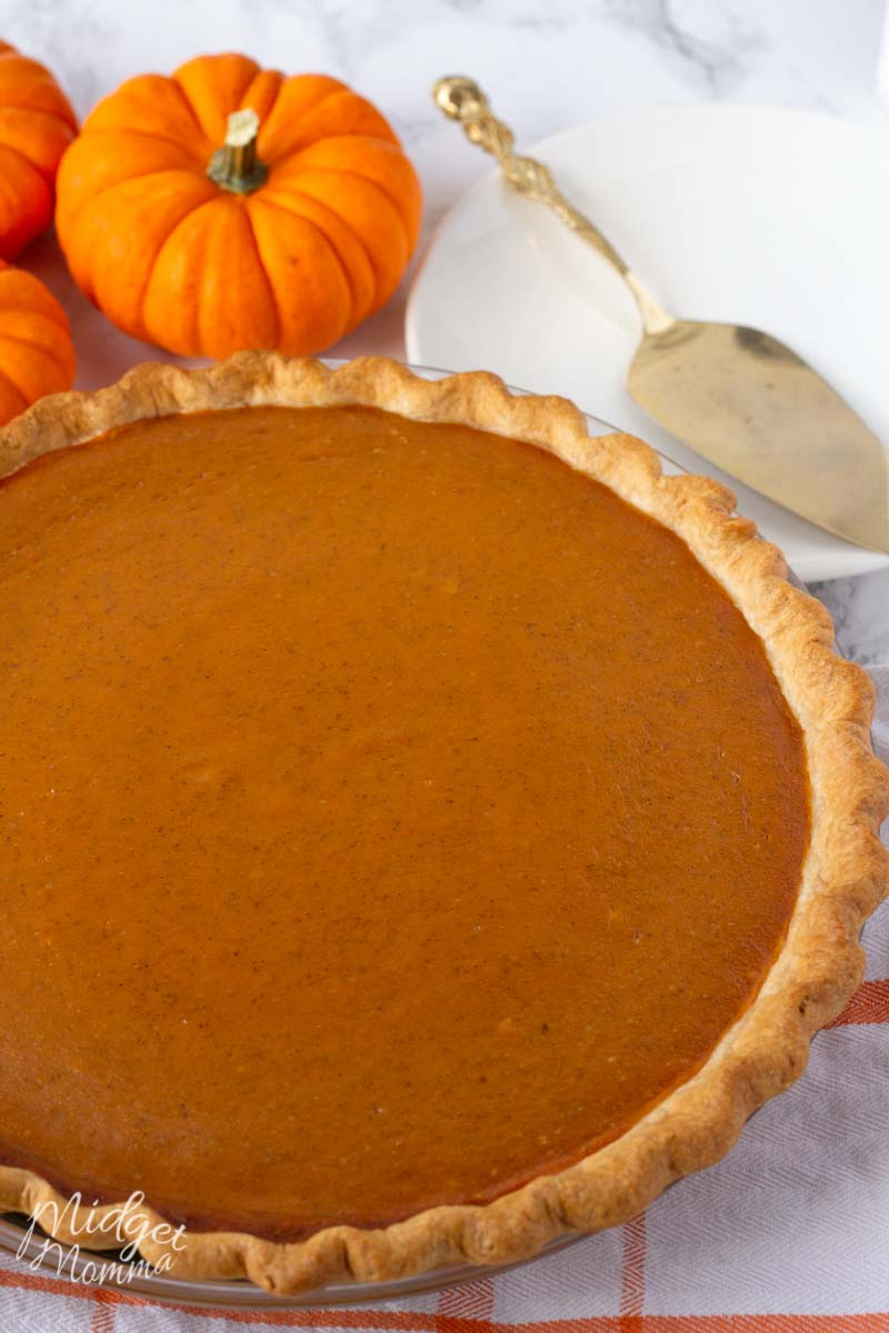 homemade pumpkin pie in a pie dish