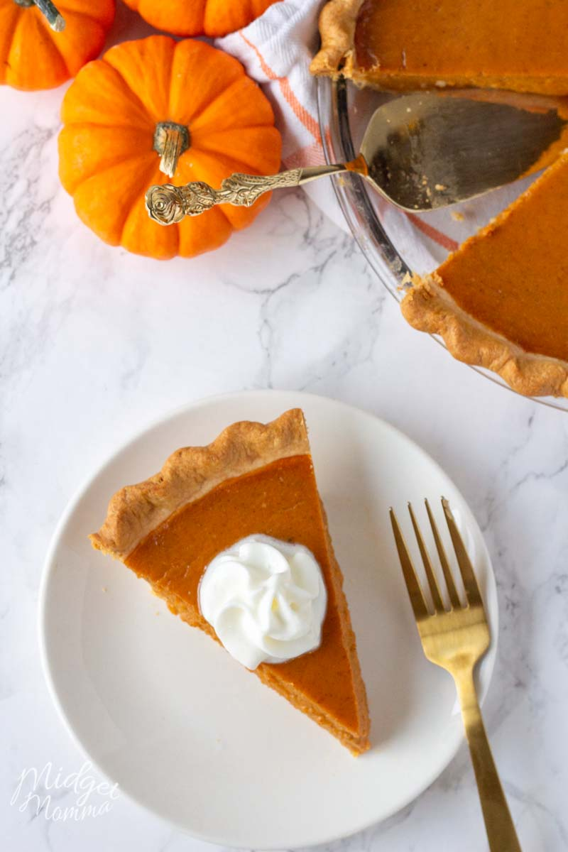 A slice of Pumpkin pie made with real pumpkin