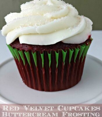 Red Velvet Cupcakes with Buttercream Frosting are a great from scratch recipe. It is a good twist to have a vanilla butter cream paired with red velvet.
