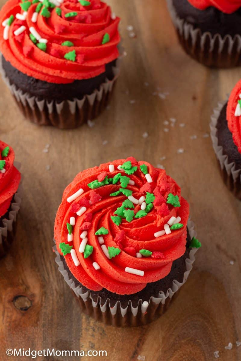 overhead Christmas Cupcakes