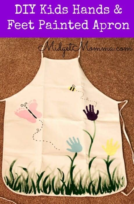 DIY Kids hand and feet Painted Apron