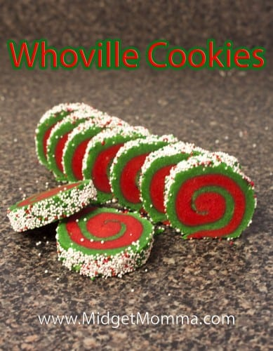 These Whoville cookies are a great take on a yummy sugar cookie. They are just two different colored sugar dough rolled up with fun sprinkles.