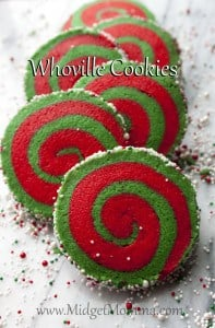 These Whoville cookies are a great take on a yummy sugar cookie. They are just two different colored sugar dough rolled up with fun sprinkles. Christmas sugar cookie, red christmas cookie, green christmas cookie, fun christmas cookie, sugar cookies, rolled cookies, holiday cookies, red and green christmas cookies.