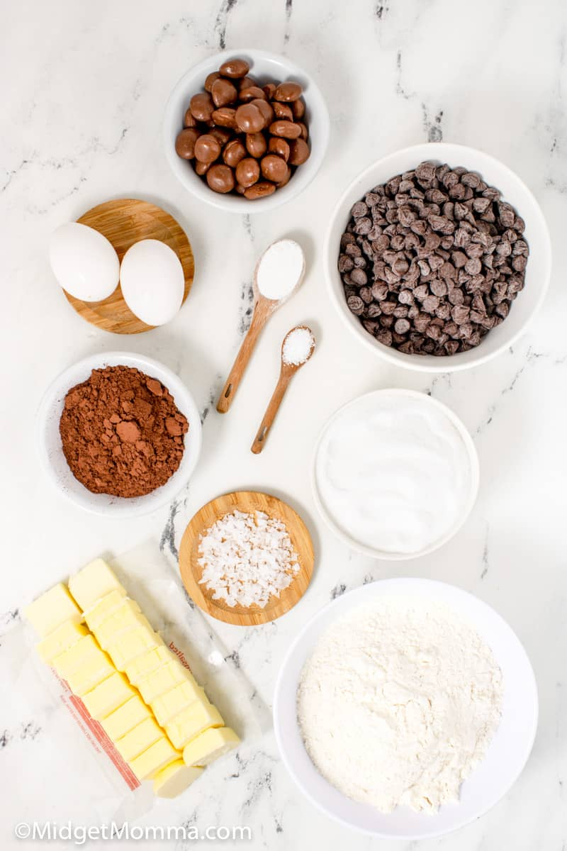 Salted Caramel Stuffed Double Chocolate Cookies ingredients