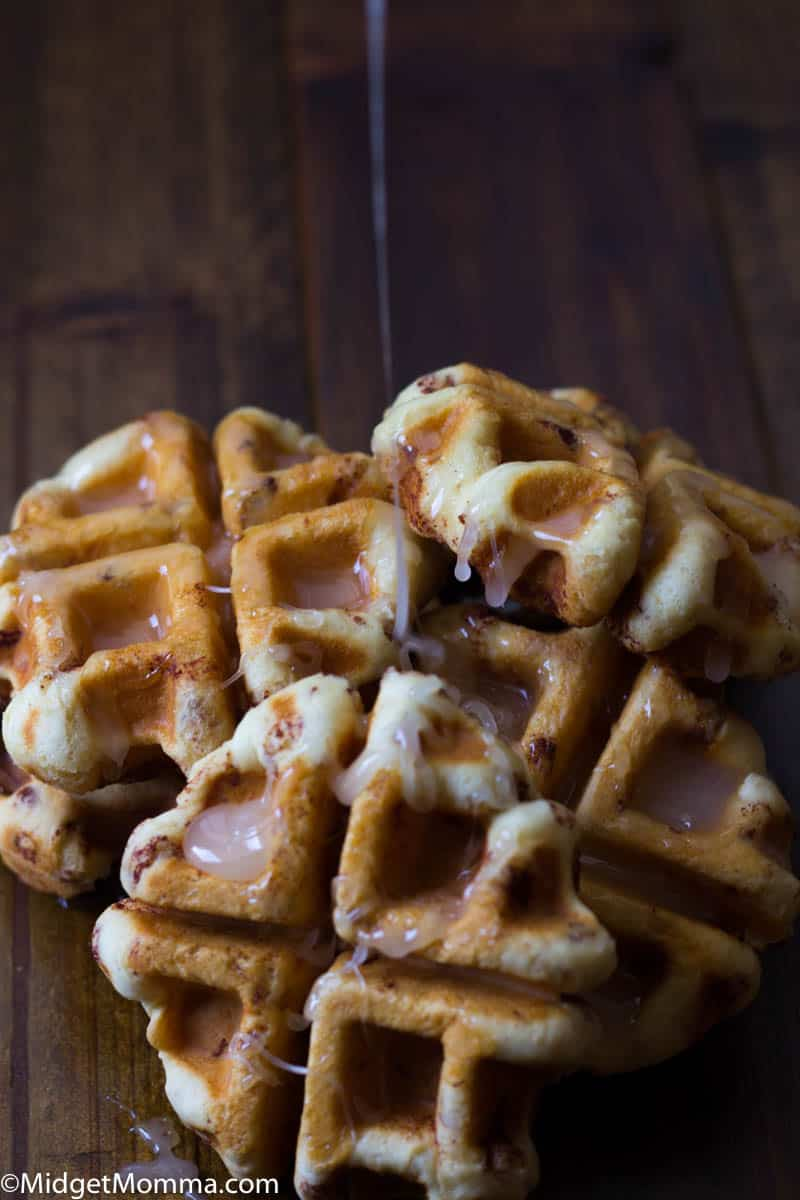 Cinnamon Roll Waffles made with a waffle maker