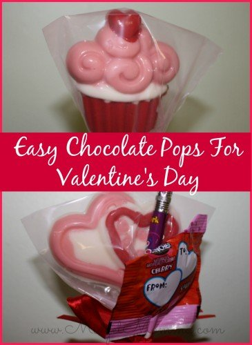 Easy Chocolate Pops For Valentine's Day are simple and they look great. You just need to heat up some different color white chocolate and mold it.