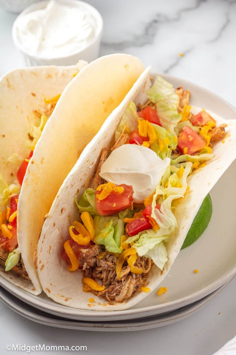 Slow Cooker Chicken Tacos on a plate