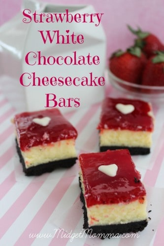 These Strawberry White Chocolate Cheesecake Bars are made with oreos, white chocolate, cream cheese and strawberry jelly.
