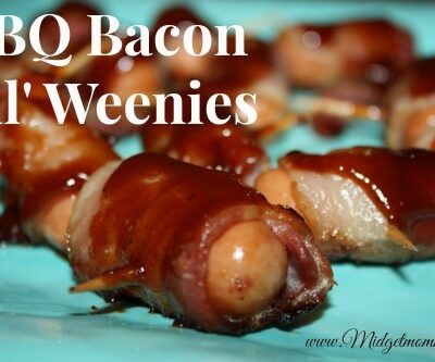 If you are looking for an easy and tasty appetizer these BBQ Bacon Lil' Weenies are perfect! They have a great smokey flavor for the bacon and BBQ sauce.