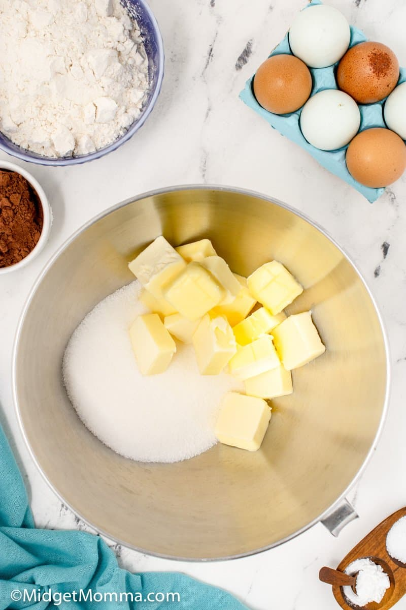 butter and white granulated sugar in a mixing bowl