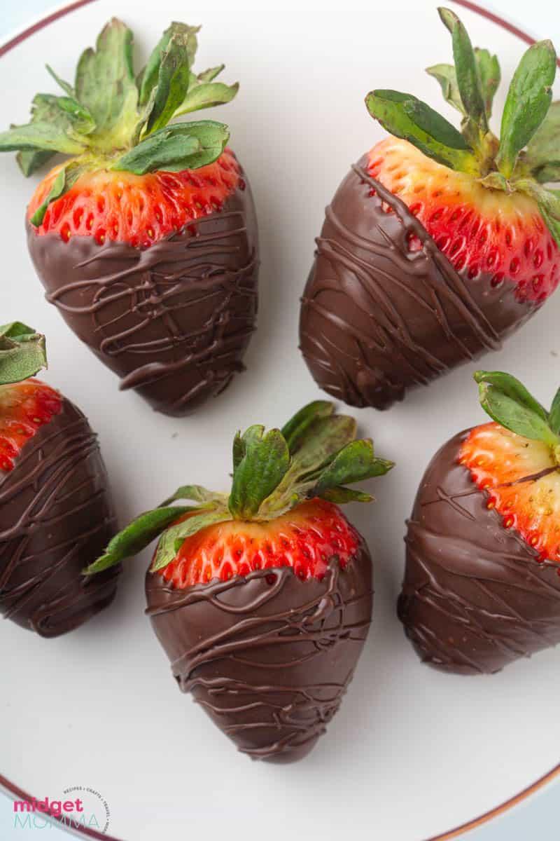 dark chocolate covered strawberries close up shot
