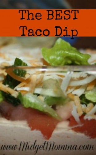 Layered Taco Dip, the best taco dip, easy taco dip, layered taco dip, 5 minute taco dip, best dip for parties, tomato lettuce cheese taco dip, chip taco dip