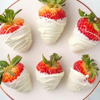 White Chocolate Covered Strawberries close up photo