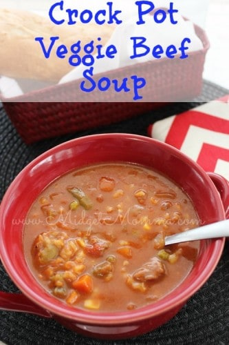 This Crock Pot Vegetable Beef Soup is easy to make and it tastes great. It has the full rich flavor from the broth with the great texture with the veggies.
