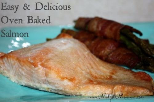 Easy Oven Baked Salmon. Just 3 ingredients for this easy salmon dish that goes great with fresh veggies and easy to cook baked in the oven.