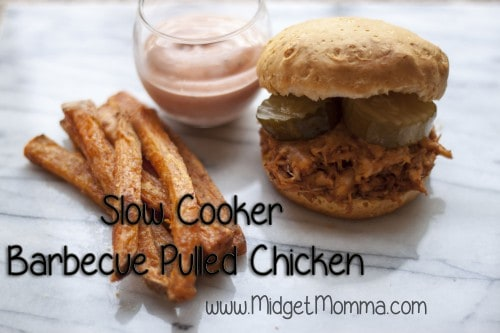 Slow Cooker Barbecue Pulled Chicken is a easy week night meal. I love to serve this chicken on a biscuit topped with cheese and pickles.