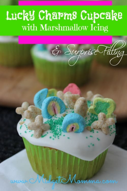 Lucky Charms Cupcakes with Marshmallow Icing & Surprise Filling