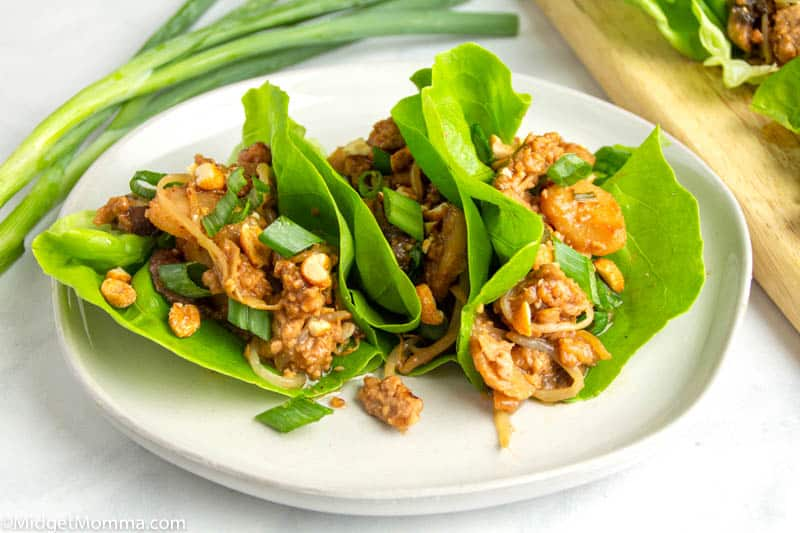 2 asian lettuce wraps on a plate