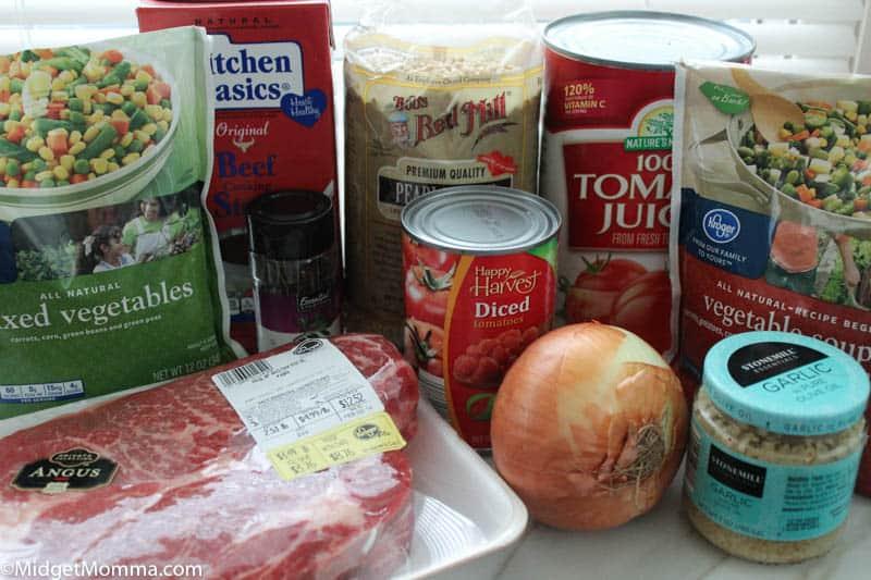 Slow cooker Vegetable Beef Soup ingredients