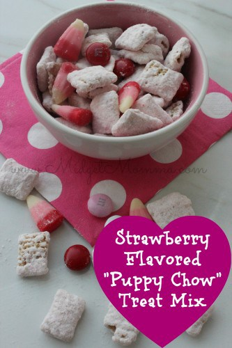 """Strawberry Flavored """"Puppy Chow"""" Treat Mix is super festive for Valentine's Day. It is easy to make with some white chocolate and cake mix."""