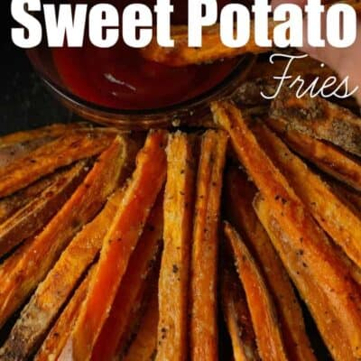 These Crispy Baked Sweet Potato Fries are very crunchy with out the need of a deep fryer! These oven baked sweet potato fries are a family favorite and these crispy sweet potato fries are one of our family favorites! #SweetPotato #Fries #BakedFries #SweetPotatoFries #CrispyFries #CrispySweetPotatoFries