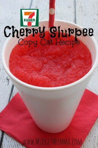 7 Eleven Cherry Slurpee Copy Cat Recipe are simple to make at home and you don't even need to have a machine at home to make them!!