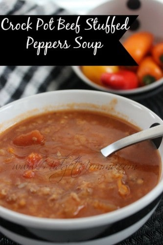 Crock Pot Beef Stuffed Peppers Soup is combining the easy of crockpot cooking, with the delicious taste of stuffed peppers with the love of soup.