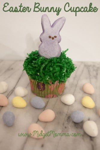 Easter Bunny Cupcakes made with awesome cake mix, homemade buttercream icing, died coconut and a Peep Bunny they will make your Easter Party the best!