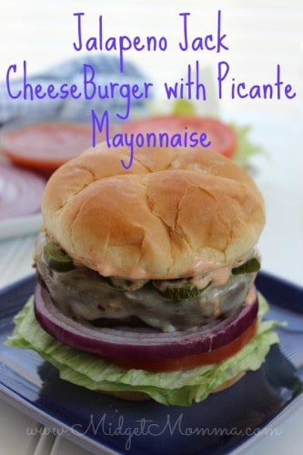 Jalapeno Jack CheeseBurger with Picante Mayonnaise are a great fun twist on the classic hamburger. The Pepper Jack Cheese and jalapenos add that great spice