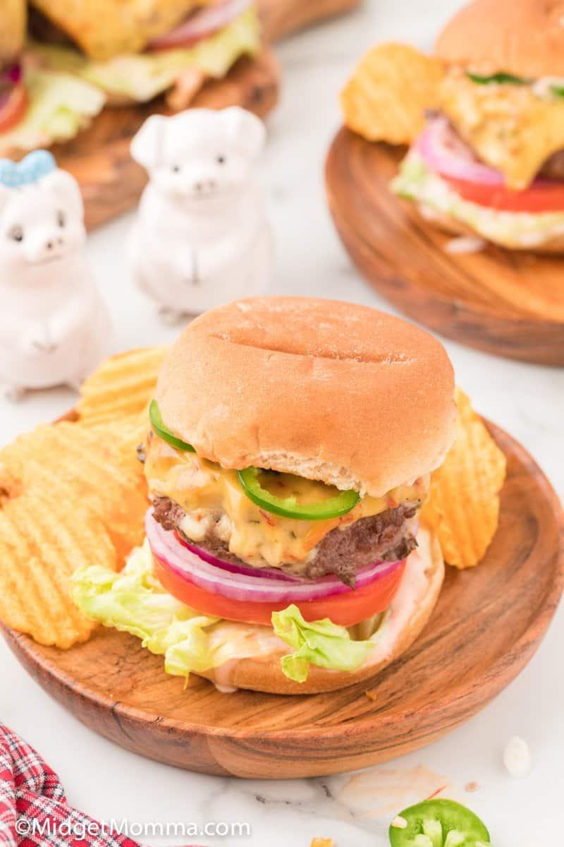 Jalapeno Jack Cheeseburger on a plate