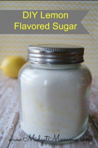 Lemon Flavored Sugar is great way to add some zesty flavor anywhere you would use normal sugar. I love it in my sugar cookie recipe.