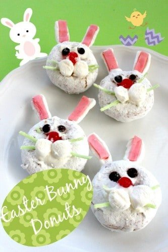 These Easter Bunny Donuts are a great and simple treat that will get any child excited about the Easter bunny coming to visit!