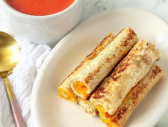 Grilled Cheese Roll Ups with tomato soup