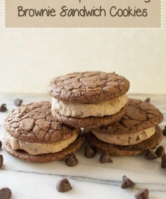 Chocolate Chip Cookie Dough Brownie Sandwich Cookies made with egg less cookie dough batter (that is safe to eat) and brownie cookies.