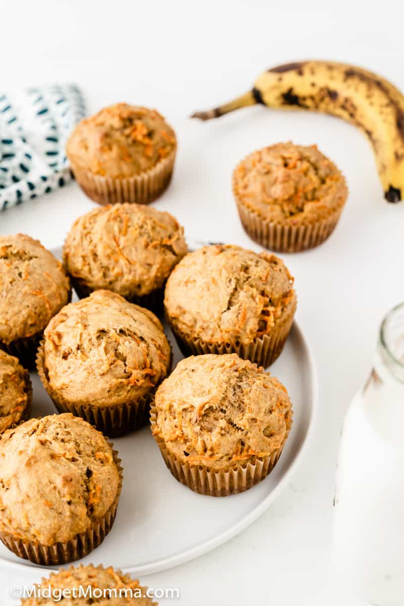 over head photo of Banana Carrot Muffins