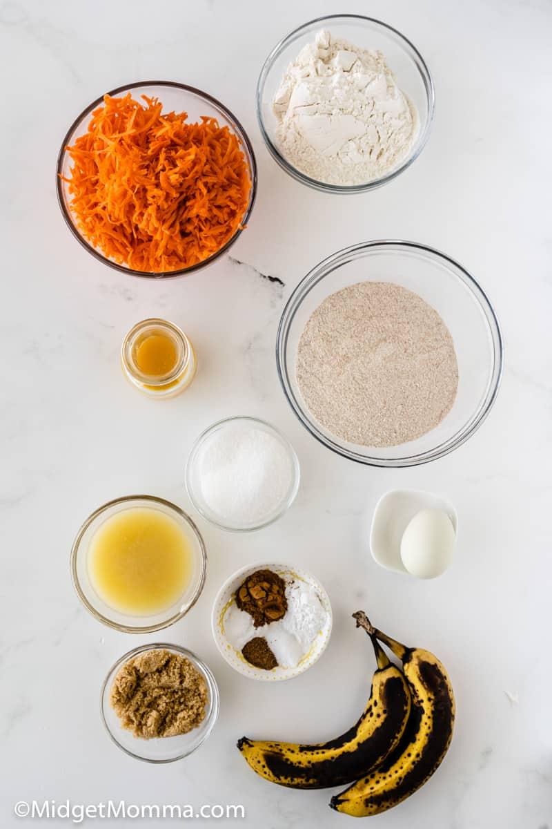 Banana Carrot Muffins ingredients