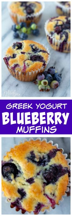 Greek Yogurt Blueberry muffins. Homemade blueberry muffins that are super moist and exploding with blueberries. #muffin #Blueberry #BlueberryMuffin #MuffinRecipe #GreekYogurtMuffin #BreakfastMuffin #BerryMuffin
