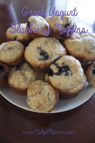 Greek yogurt is a great source of protein and it is that secret ingredient that helps bring moister to these Greek Yogurt Blueberry Muffins.