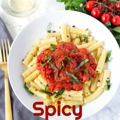 Spicy Cherry Tomato Pasta Sauce is one of the best pasta sauces recipes ever. This homemade pasta sauce is easy to make and dinner is finished in less than 30 minutes! #Pasta #PastaSauce #EasyPastaSauce #SpicyPastaSauce
