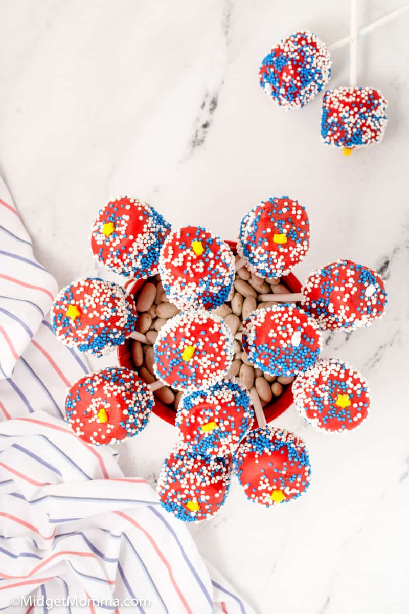 Overhead photo of Patriotic Chocolate Covered Marshmallow Pops