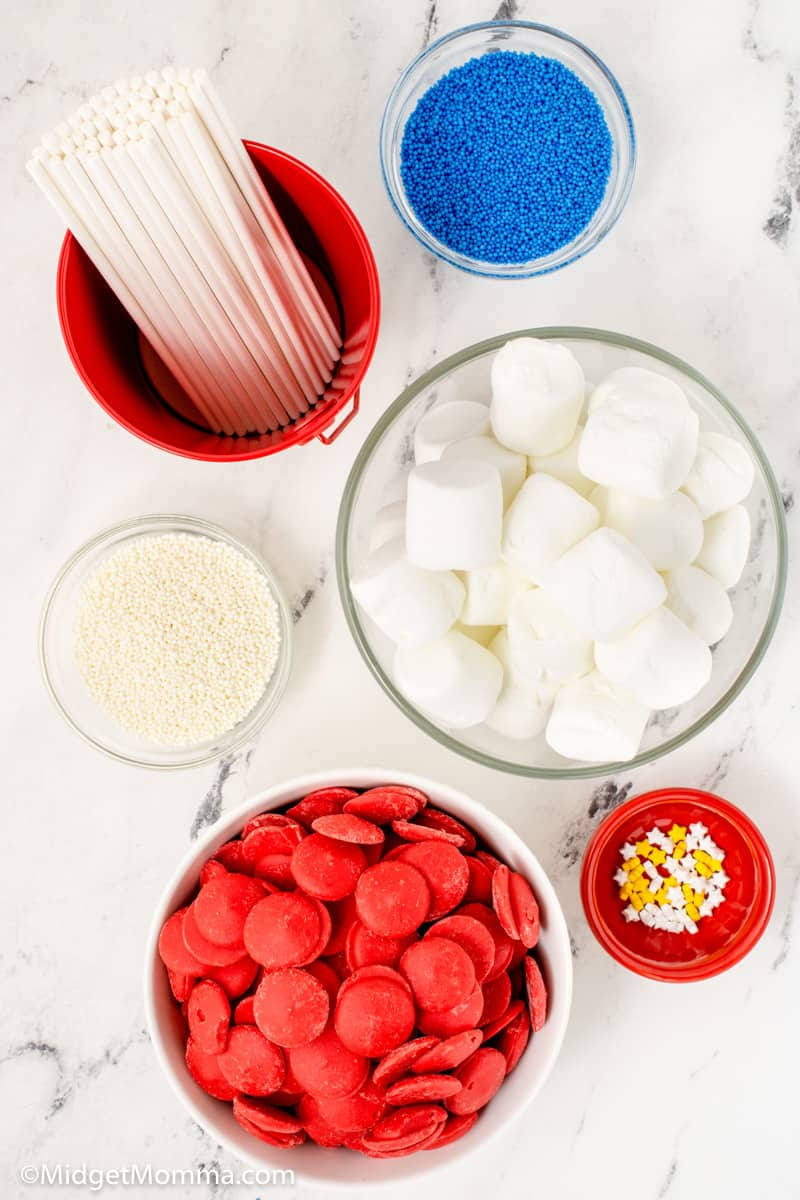 Patriotic Chocolate Covered Marshmallow Pops ingredients