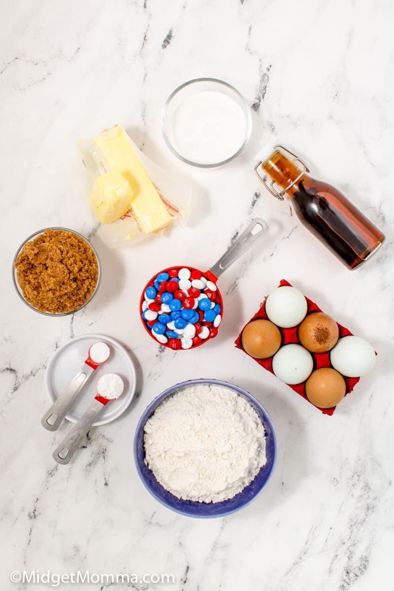 Patriotic M&M Cookies Recipes ingredients