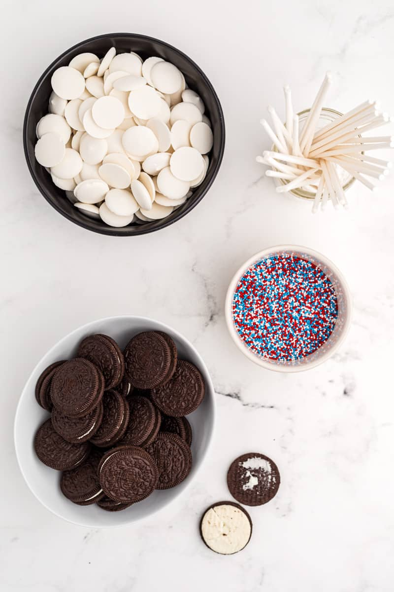 Red, White & Blue Chocolate Covered Oreos ingredients