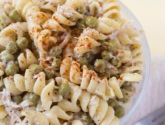 Tuna Pasta Salad. This classic pasta salad recipe is so easy to make and is perfect for dinner, a get together and lunch! Cold tuna pasta salad goes perfectly with so many summertime recipes!