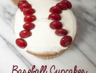 These Baseball Cupcakes are a super easy cupcakes that are fun to making with your kids. All you need is cupcakes, buttercream and red M&M's.