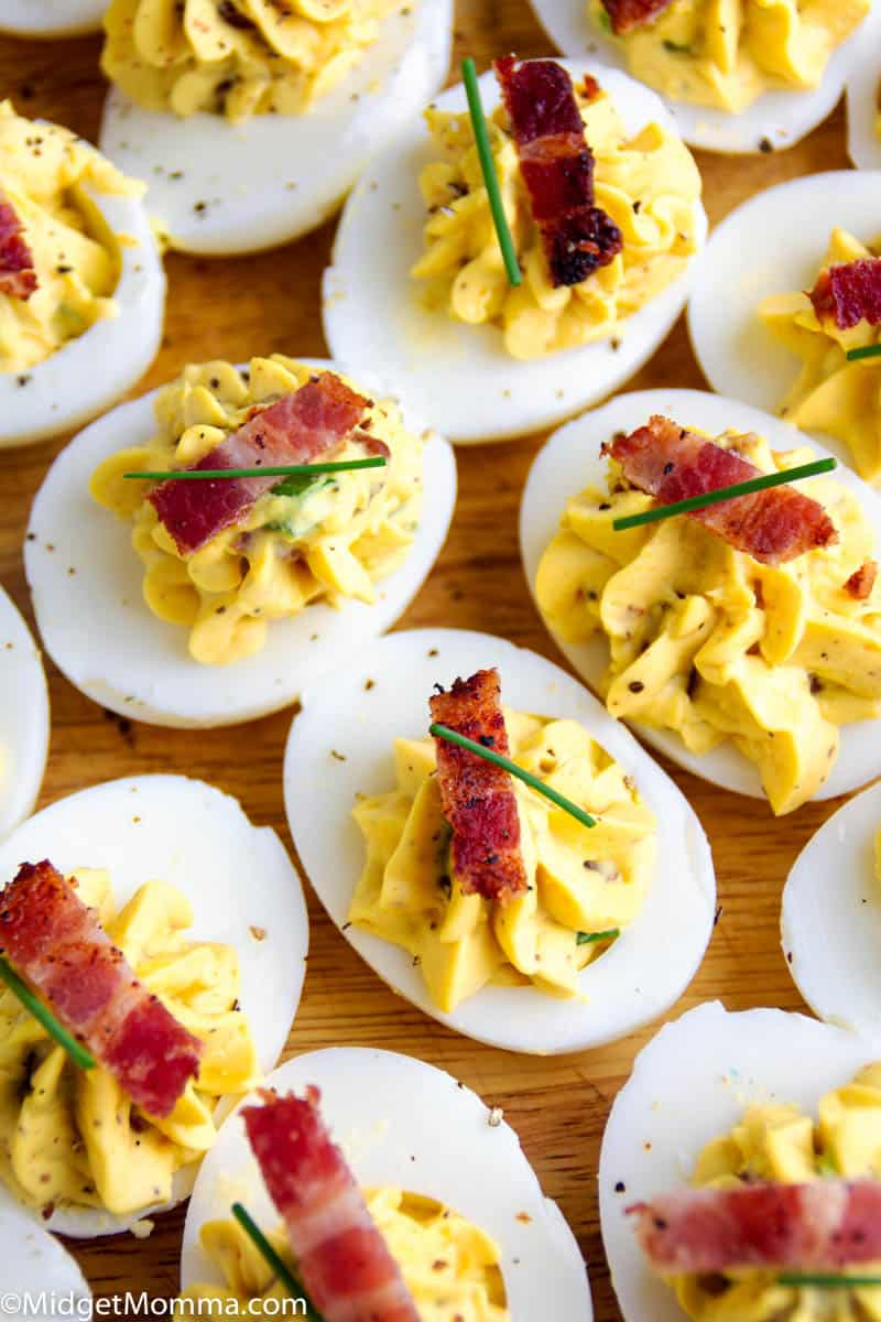 Bacon Deviled Eggs- How to Make Deviled Eggs with Bacon - bacon deviled eggs on a platter