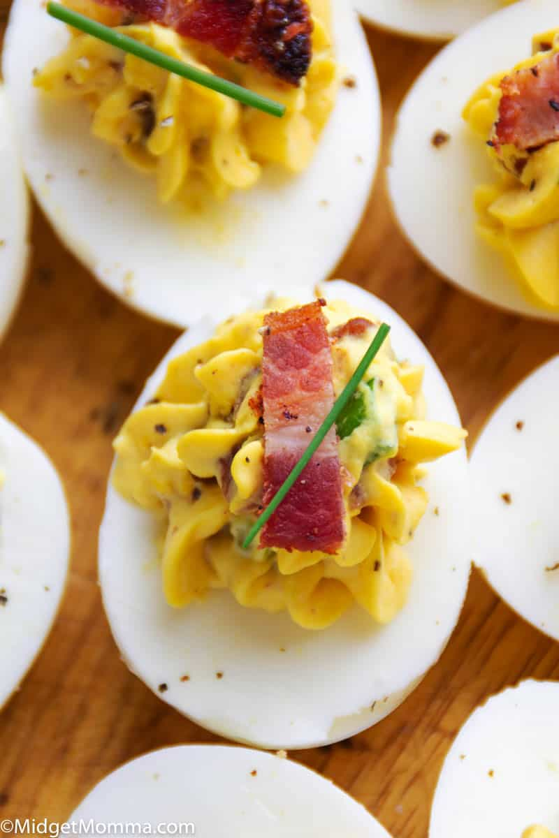 Bacon Deviled Eggs close up photo